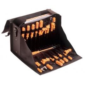 Sacoche électricien en cuir (livrée vide)
